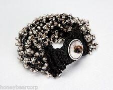 New Avon SAFARI CHIC Beaded Cluster Stretch Bracelet - Black / Charcoal Gray
