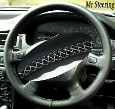 FITS KIA CERATO BEST QUALITY BLACK LEATHER STEERING WHEEL COVER WHITE STITCH NEW