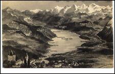 THUN Kanton Bern Schweiz ~1930/40 Schloss Panorama Relief Motiv AK Alpen Berge