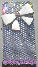 Crystal Rhinestone + White BOW Back Case for iPhone 5 5S with Swarovski Elements