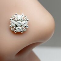 Ethnic Indian 925 Sterling Silver White CZ Indian Nose ring Push Pin