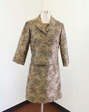 Talbots Black Tan / Gold Vintage Floral Print Dress Suit & Jacket Set Size 6P