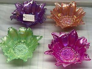 Akcam Set Of 4 Glass Dessert Flower Floral Bowl Iridescent New Green Peach Pink