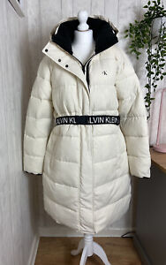 Calvin Klein Belted White Padded Coat XL RRP £250 Great Condition