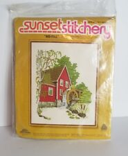 New listing Red Mill Vtg Sunset Crewel Embroidery Kit Barbara Jennings 16x20 Water Wheel New