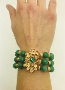 14k Yellow Gold 3 Strand Jadeite Jade Bead Emerald Floral Pendant Bracelet 56g