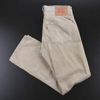 Vintage LEVI'S 551 Cream Corduroy Regular Straight Trousers Mens W31 L32