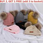 Toodler Kids Baby Warm Winter Knitted Beanie Hat Double Fur Pom Pom Bobble Cap