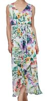 SLNY Womens Maxi Dress Green Size 12 Surplice Belted Floral Sleeveless $99- #098