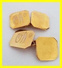 QUALITY 9CT DARK GOLD SQUARE CUFFLINKS ,4.7 GRAMS  MAKER H MC N