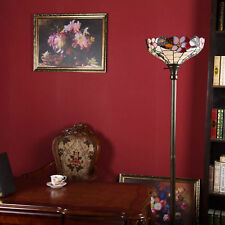 """Tiffany-Style  Floor Lamp 71""""H Vintage Handmade Stained Glass Bronze Torchiere"""