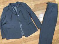 Preston & York Womens 2 PC Dress Suit Gray Blazer and Dress Pants 12