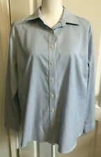 LANDS END Womens Button SHIRT Blue White Stripe Long Sleeves PINPOINT Size 18