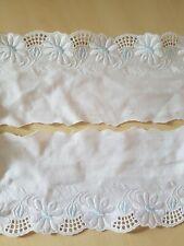 Stickerei Spitzenborte Baumwolle  weiß mit ewas blau bestickt 10 cm breit