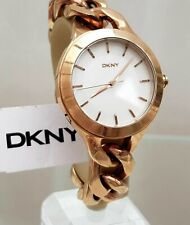** DKNY Ladies Watch Big Face Rose Gold tone Chain Bracelet RRP£180 (533)