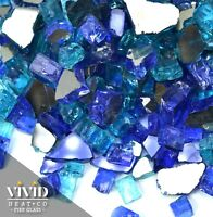 """TROPICAL BLUE BLEND 1/2"""" Premium Reflective Fire Glass for Fireplace & Fire Pit"""