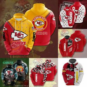 Kansas City Chiefs Hoodies Men Football Hooded Sweatshirt Casual Jacket Pullover