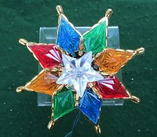 """8 Point Star Multi Color Faceted Christmas Tree Topper 8"""" by Holiday Time"""
