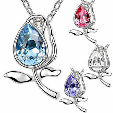 Crystal Pear White Gold Plated Costume Necklaces & Pendants