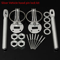 Silver Car Flush Hood Mount Bonnet Latch Catch Pin Key Locking Kit