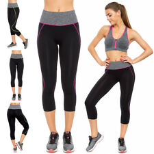 Womens Cropped Sport Leggings Gym Yoga High Waisted 3/4 Pants Size S-XL FG3721
