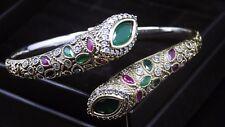 Turkish Handmade 925 S. Silver Authentic Ruby Emerald Ladies Womans Bracelet 130