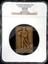 1934 Swiss Shooting Fest Medal, R-433a, AE, 57x87 mm, Fribourg, MS 65 BN! (002)
