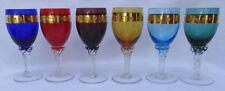 New listing Vintage Old Handwork Gilt Multicolour Glasses Complete 6 Pieces!
