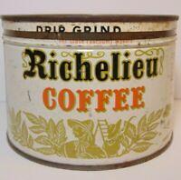 1950s Richelieu Coffee GRAPHIC KEYWIND COFFEE TIN 1 POUND SPRAGUE WARNER CHICAGO