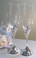 Toasting Flutes Trellis Hearts, Silver Plated