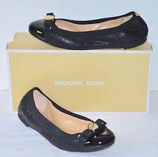 New $120 Michael Kors Dixie Ballet Black Leather/Patent Toe Flats Gold Charm Bow