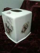 Vintage Porcelain Tissue Box Cover with Floral Motif