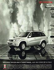 PUBLICITE ADVERTISING 114   2001  TOYOTA  RAV 4 TURBO DIESEL  4x4