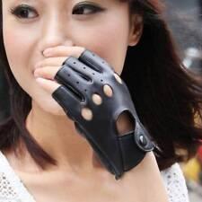 Black PU Leather Half Finger Driving Gloves Fingerless Gloves For Women Men