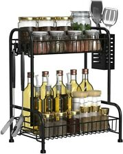 2 Tier Gewürzregale Küchenregal Rack Aufbewahrungshalte Für Küche Badezimmer DHL