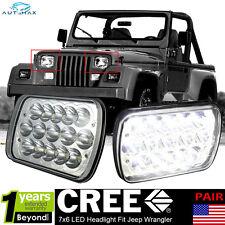 2x LED Headlights Upgrade Sealed Beam Headlamps for Jeep Wrangler YJ 1987-1995