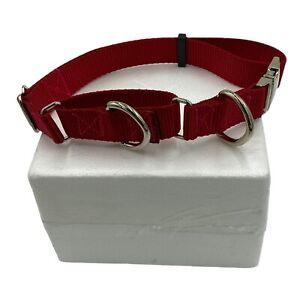 "Adjustable Martingale Dog Collar Double D Ring Metal Heavy Mastiff 1"" Webbing"
