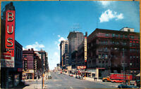 1950s Chrome Postcard: 16th Street, Bus Depot, Hotel Rome - Omaha, Nebraska NE