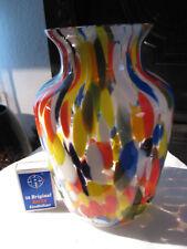 Glas Vase Art Deco mit leuchtend bunten Einschmelzungen . 18,5 cm