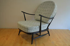 VINTAGE ERCOL:  BLACK 203 WINDSOR ARMCHAIR WITH GREY/WHITE DESIGNER PRINT COVERS
