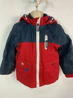 BOYS TU NAVY BLUE&RED CASUAL HOOD WINTER RAIN COAT JACKET KIDS AGE 1.5/2 YEARS
