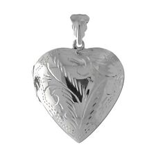 Sterling 925 Silver Victorian Etched / Engraved Heart Locket - Wholesale / Gift