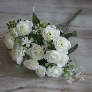 Artificial Silk Flowers Rose Bunch Wedding Party Home Outdoor Bouquet Decor