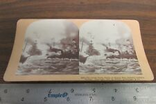 1800'S STEREOVIEW CARD  GREAT NAVAL BATTLE OF MANILA BAY ADMIRAL DEWEYS VICTORY