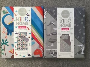 BNWT Dinosaurs Kids Boys Girls Reversible Single Duvet Set Bedding Grey Multi