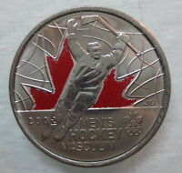 2009 CANADA 25¢ OLYMPIC MEN'S HOCKEY COLOURED BRILLIANT UNCIRCULATED QUARTER