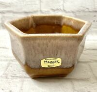 Vintage Haeger Dish Pottery Hexagon Drip Glaze Gold Tan Made In USA Planter 4002