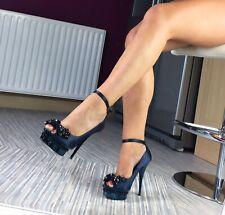 Carvela Shoes Size 5, Satin Midnight Blue Embellished/pearl