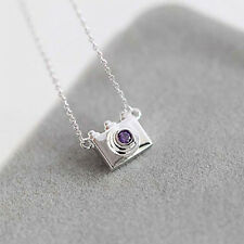 Chain Water Inlay Women's Dazzling Plated Necklaces Crystal Camera Pendants