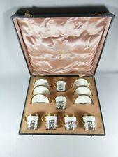 Antique Edwardian 1914 Boxed George Jones Demitasse Coffee Set Sterling Silver
